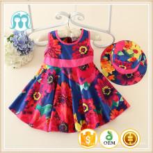 kids children girls casual summer one set dress 2016 day dress multi set dress with hat/cap