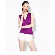 New Fashion V-Neck Sleeveless Blouse Wild Wrapped Chest Vest Bottoming Slim Nightclub Sexy Gauze Ruffle Blouse