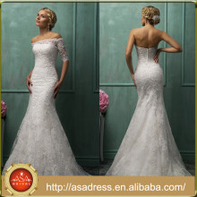 AMS01 Long Bridal Gowns with Jackrt Lace Off Shoulder Mermaid Wedding Dress with Detachable Train