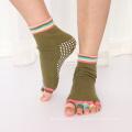 Custom Cotton Anti Slip Pilates Grip Toeless Open Toe Women Yoga Socks