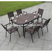 New arrive garden wood furniture plastic wood dining set round table for restaurant or courtyard