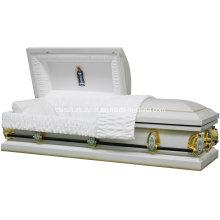 Guadalupe White 20ga Steel Casket