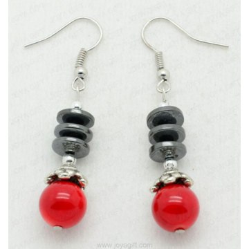 Red Coral Disc Beads hematite earring