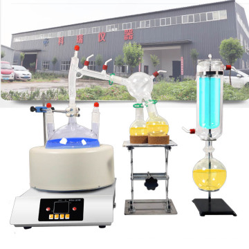 short path distillation glassware with heating mantle