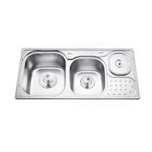 Fregadero de cocina de plata del cuenco doble de alta calidad con el cubo de basura Fregadero de cocina de plata del cuenco doble de alta calidad con el cubo de basura
