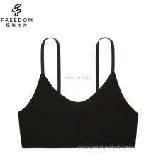 China pequena MOQ algodão tecido bandeau U pescoço sem fio bralette sutiã