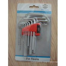 Allen Key Wrench 9PCS with Flat Head Cr-Coated Blister Card