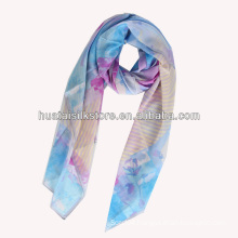 2014 hot hand printed silk chiffon lady scarf