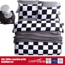133*72 напечатано черный белый лист постельных принадлежностей для отель/домашнего использования