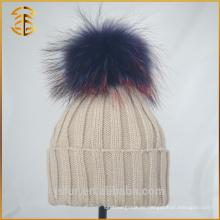 Großhandel China Unisex Erwachsene Pompom Knit Waschbär Pelz Pom Hut