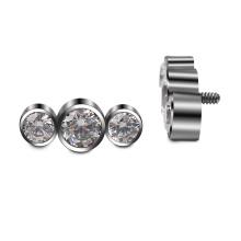 ASTM F136 Titanium Bezel Set Cubic Zircon Dermal Anchor Labret Top Piercing Jewelry