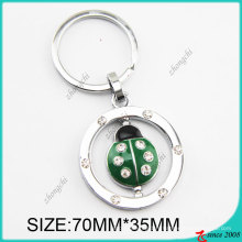 Chaîne principale en métal verte de coccinelle d'émail de mode (KC)