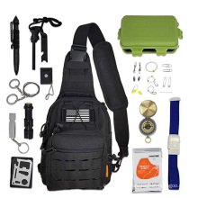 Emergency Camping Tactical Survival Kit with Sling Bag ,Crossbody Sling Bag with EDC Gear Tools Fishing tools