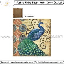 Peacock Printed Linen Fabric for Home Decoration