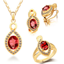 Gold Plate 925 Silver Ring and Pendants Jewelry Set