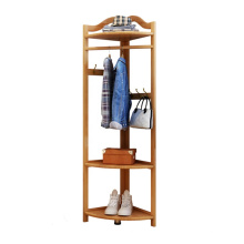 Fashion Home Furniture Bamboo Wood Clothing Rack With Hooks