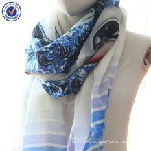 2014 Benutzerdefinierte drucken chinesischen traditionellen blauen und weißen Porzellan Digitaldruck 100% Wolle Schal SWW805