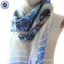 2014 Custom Print Chinese Traditional Blue and white porcelain Digital Printing 100% Wool Scarf SWW805