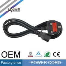 SIPU cable de alimentación trenzado de PVC 6.8mm OD negro ac cable de alimentación