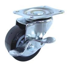 Roulette pivotante PU avec frein (noir)