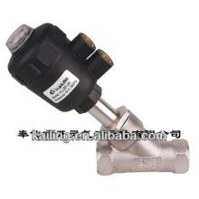 Válvula de asiento angular de 2/2 vías accionada por pistón para líquidos y gases neutros y agresivos
