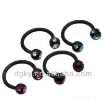 Multi CZ Negro Titanium Anillo de herradura anillo de anillos cautivos
