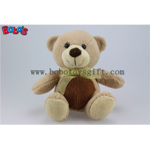 20cm Wheat Color Plush Holiday Teddy Bear with Yellow Ribbon Bos1104