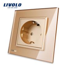 Livolo Panneau de verre cristal or conforme aux normes européennes, prises de courant 16A, prise murale VL-C7C1EU-13