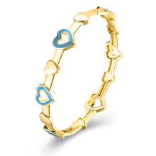 Heart Inset Imitation Gold Plated Bangle Jewelry Blue Heart Bangle