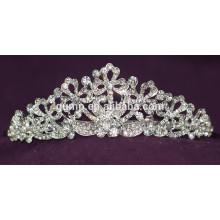 Высокое качество моды сплава пользовательских блестящий кристалл свадебных короны свадебный тиару