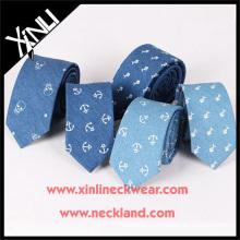Impresionante Handprinted Anchor seda algodón algodón Mens Neck Ties