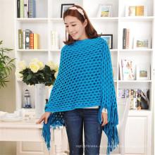 Высокое качество кисточкой свитер 100% акриловые полые пуловер трикотажные женщин Кейп