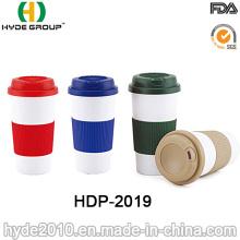 Double Wall Plastic Coffee Mug with Silicon Sleeve (HDP-2019)