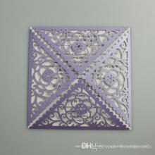 Hollow Flower Square Romantic Wedding Invitation Card 2016 New Arrival Laser Cut Postcard For Party Supply Free Printing ML278