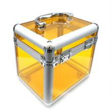 Les trousses de maquillage en acrylique jaune de haute qualité (hx-q047)