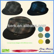 Good quality fashion cheap men grid hats grid mesh foldable cowboy hat popular grid jazzy hat vintage plaid fedora hat , RH-09