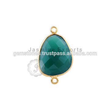 Natural Green Onyx Gemstone Bezel Connector, Venda por atacado Vermeil Gold Plated Gemstone Bezel conectores