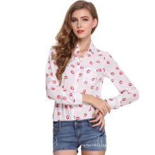 2017 Hot selling blouse tops women lapel design long sleeves printing chiffon lady blouse