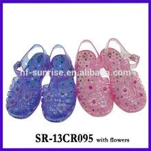 SR-13CR095 com flor (2). Crianças gelatina sandálias meninas geléia sandálias plástico sandálias crianças por atacado geléia sandálias