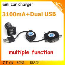 El mejor diseño mini cargador para el coche / cargador doble del coche del USB para Smartphones / 3,1A Car Charger