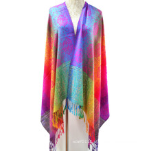 Moda colorido tecido fio tingido lenço de jacquard