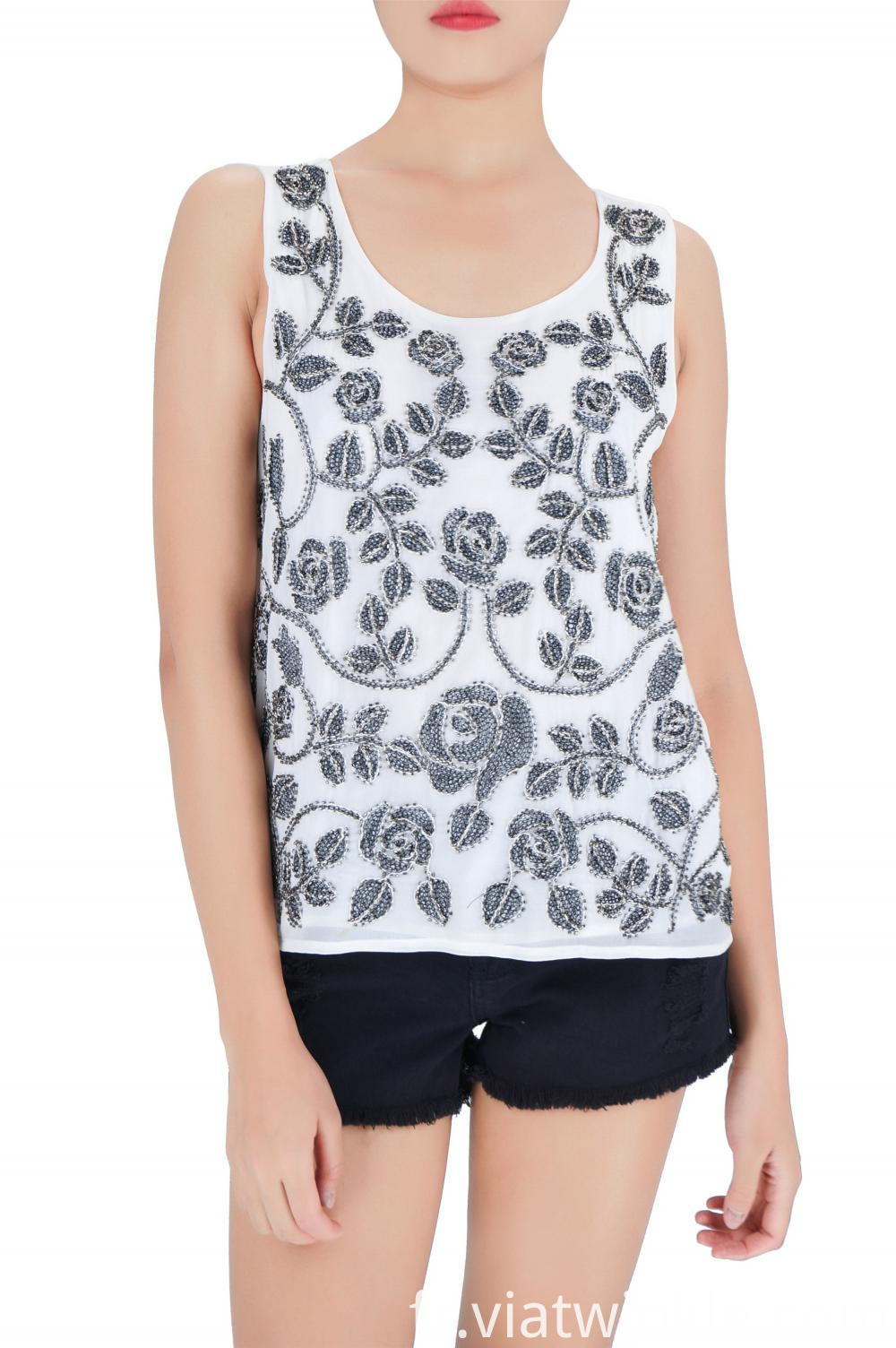 Embroidered Beads Tank Tops