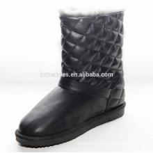 Longo preto PU mulheres neve botas para o inverno