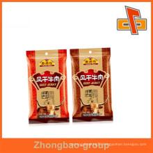 Plastic material laminated custom beef jerky packaging bags