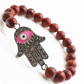 Red Jasper 8MM Round Beads Stretch Gemstone Bracelet with Diamante Evil eye Piece