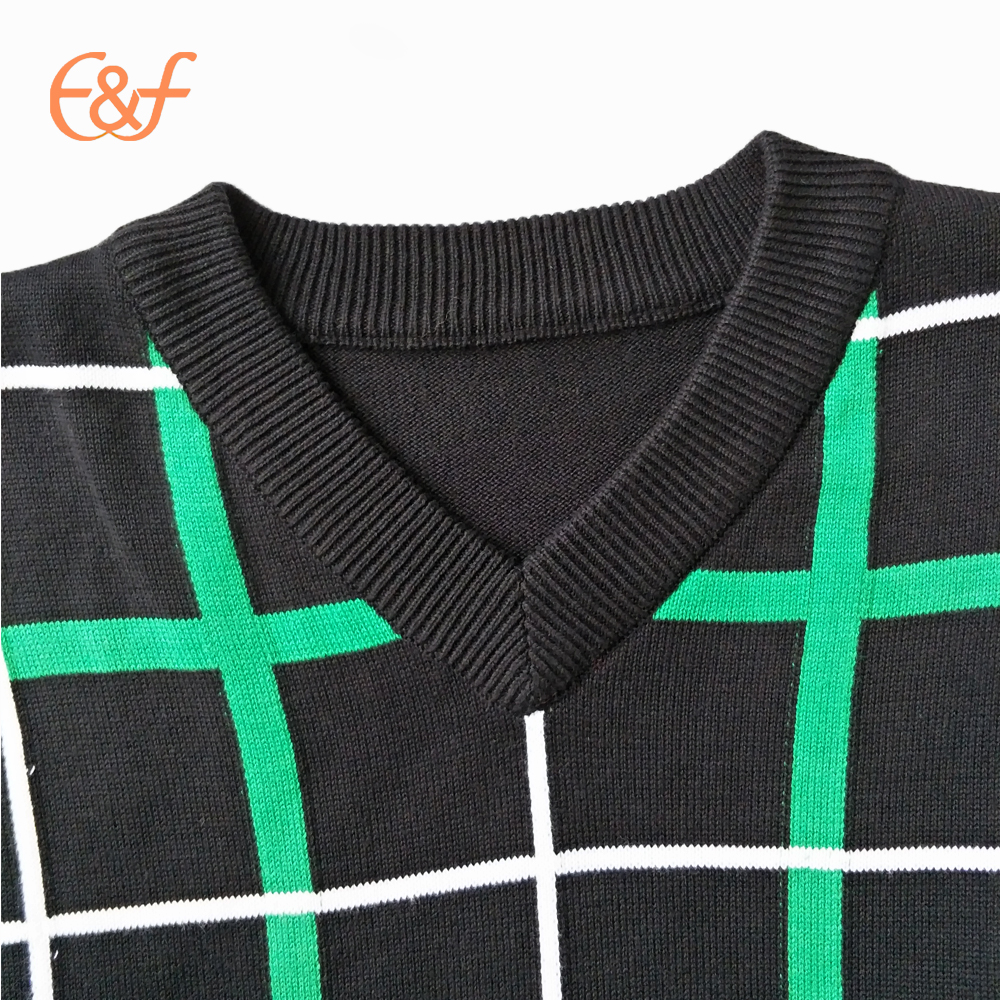 V-neck Checked pattern sweater