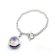 Cuban stainless steel magnetic plain flat sterling silver bracelet jewelry