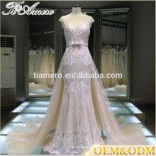 2016 Fábrica de Guangzhou amostra real Tiamero boné manga boné vestido de noiva elegante vestido de casamento