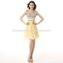 Vestido de noche corto 2017 de las mujeres amarillas claras de la última manera