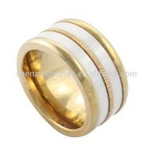 La joyería de cerámica de los anillos del acero inoxidable de los anillos de la boda del anillo del oro al por mayor del IP